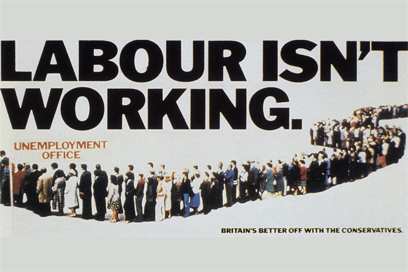 'Labour isn't working': the campaign was credited with helping Thatcher win the 1979 election