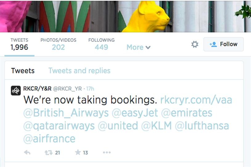 Moving on: RKCR/Y&R tweets major airlines following its loss of the Virgin Atlantic account