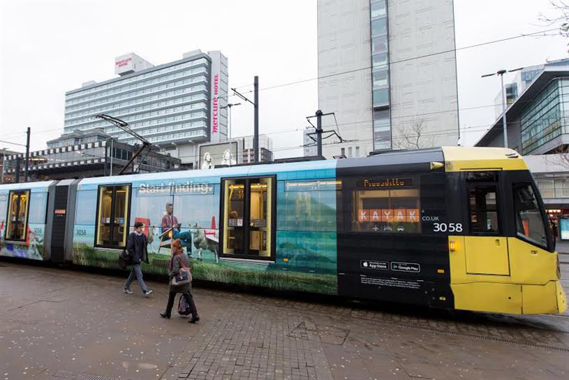 Kayak: has launched outdoor ads on the Manchester tram and the London Underground