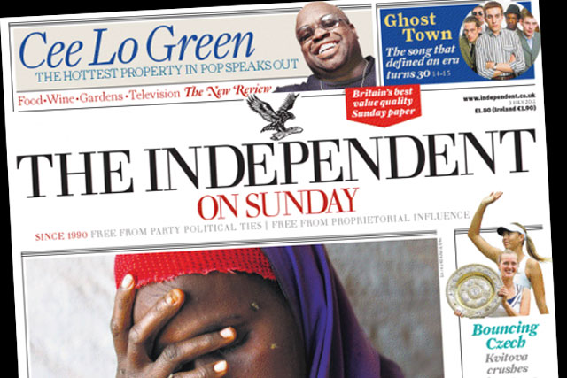 Independent on Sunday: readership fell by a quarter says NRS