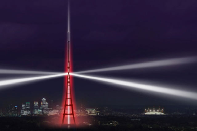 Crystal Palace tower: an impression of next month's scheduled lightshow