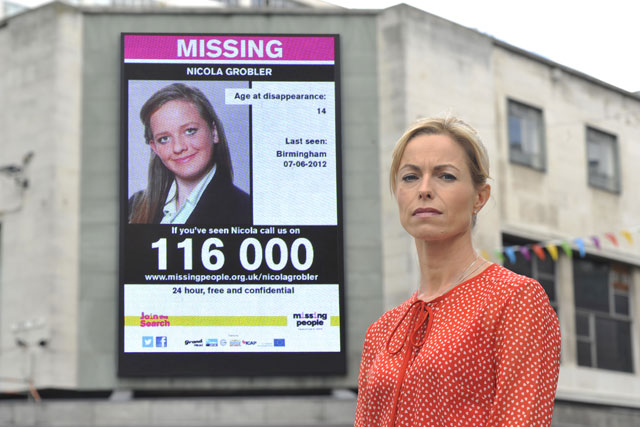 Missing People: charity ambassador Kate McCann launches digital outdoor campaign