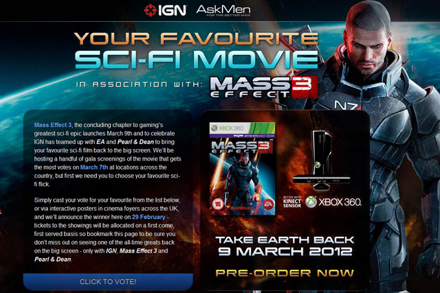 Mass Effect 3:IGN Entertainment and Pearl & Dean link up for promotion