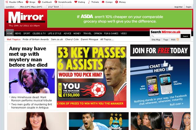 Mirror bucks the trend as newspaper sites falter in June 2011