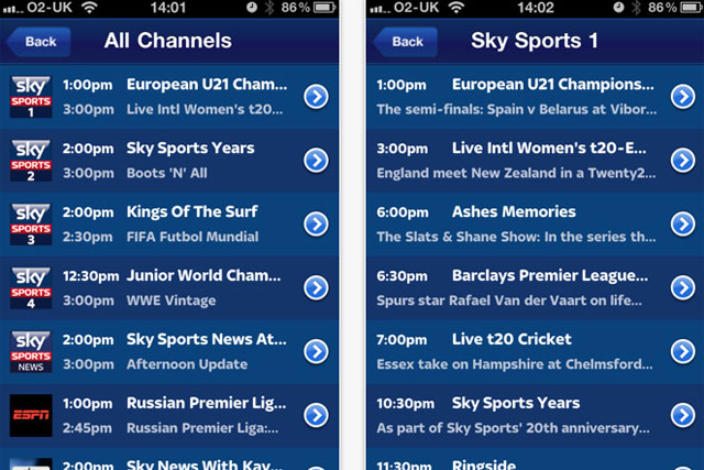 Sky Go: tops the BR app chart