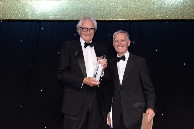 Honoured: Lord Heseltine is inducted into the PPA Hall of Fame by Terry Mansfield CBE
