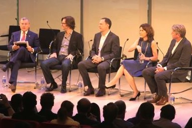 Lisa Utzschneider, second from right, speaking last month at Advertising Week