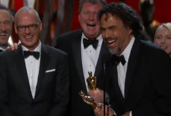 Alejandro G. Iñárritu accepting Best Picture Oscar last night.