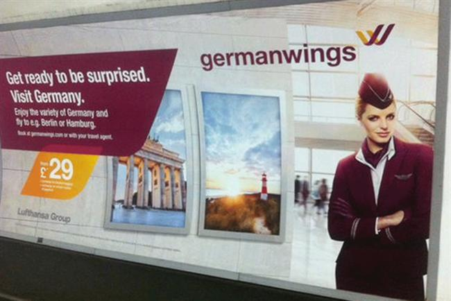 Germanwings:  'Get ready to be surprised' ads on the London Tube network.