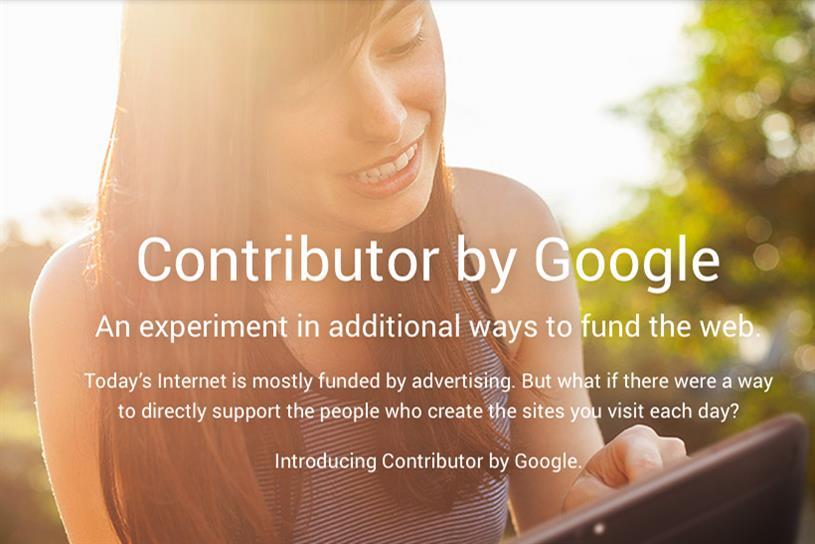 Google Contributor splash screen.