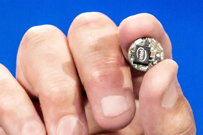 """Curie,"" Intel's button-size computer for the wearables market."