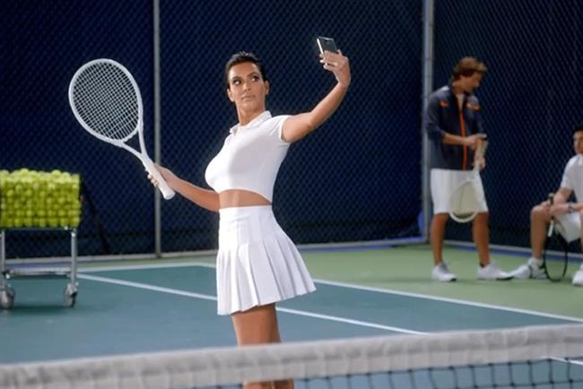 Kim Kardashian stars in T-Mobile's Super Bowl commercial.