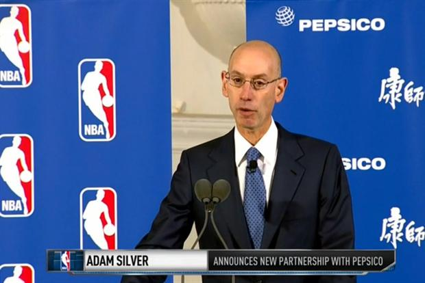 Adam Silver: the NBA commissioner announces the deal with PepsiCo at a press conference.
