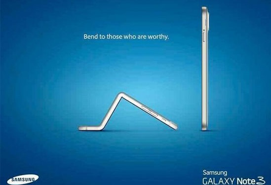 A fake advertisement circulating on social media has the Apple iPhone 6 Plus bending low before a Samsung model.