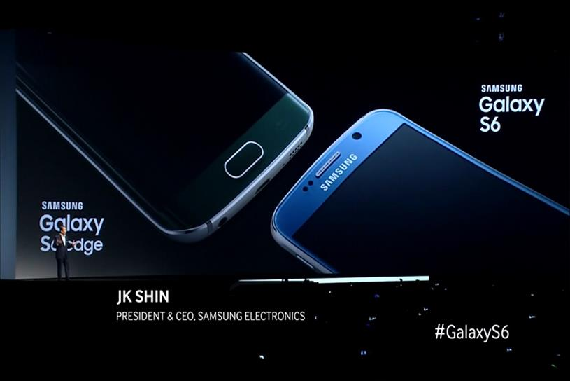 "Samsung used footage from its Galaxy S6 rollout in its ""live TV ad."""