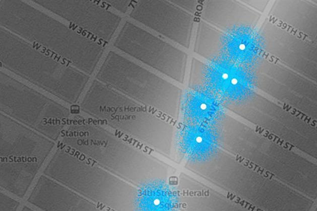 Buzzfeed tracked the location of beacons through Midtown Manhattan.