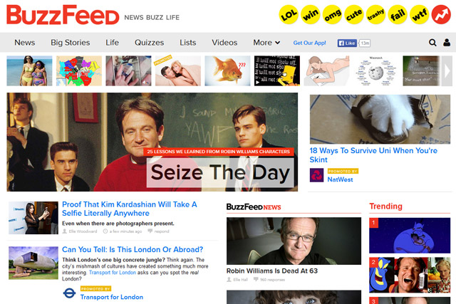 BuzzFeed: its websites have a combined audience of over 200 million unique users.