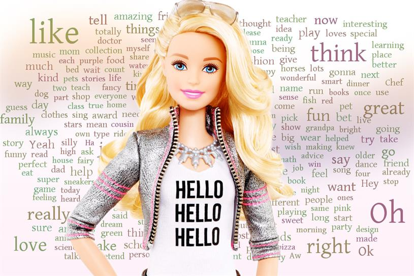 Hello Barbie, superimposed on the top 250 words in the doll's vocabulary.