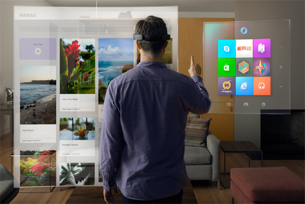 Microsoft: HoloLens headset offers holographic reality.