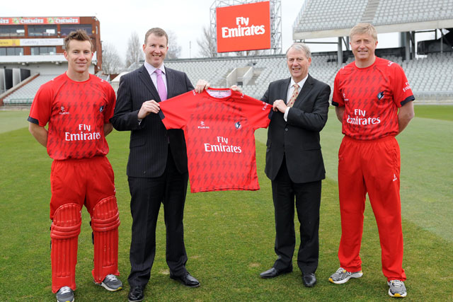 Old Trafford: from left, Steven Croft; Daniel Gidney, chief executive Lancashire County Cricket Club;  Laurie Berryman, vice-president Emirates UK, and Glen Chapple, club captain