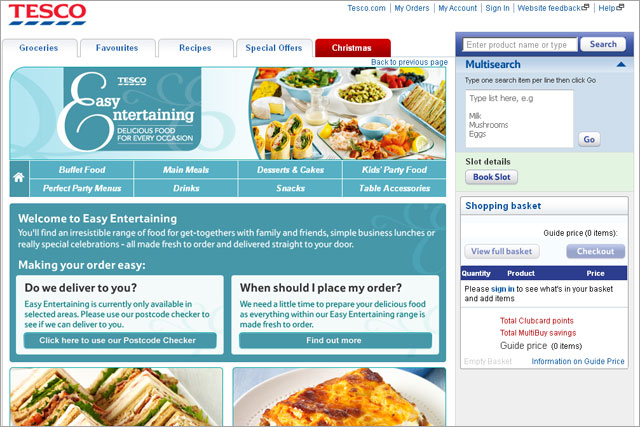 Tesco: launches party food service