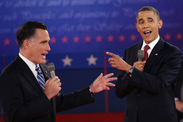 Mitt Romney and Barack Obama during Presidential debate