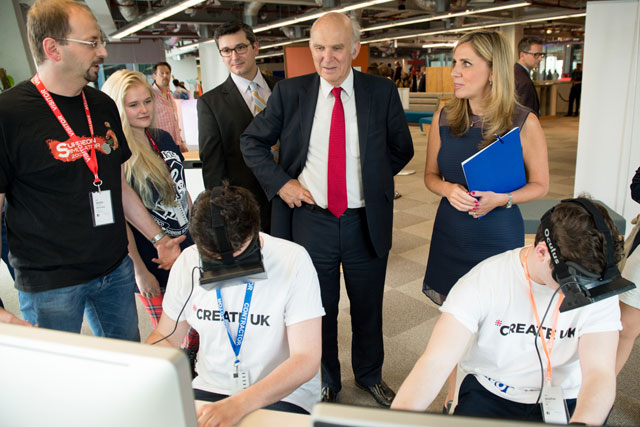 Facebook's Nicola Mendlesohn and Vince Cable at the launch of CreateUK