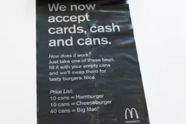 McDonald's accepts cans as currency in burger swap campaign