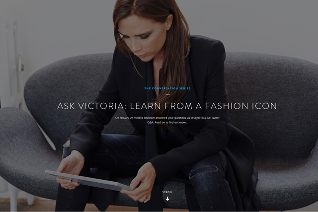 Skype Collaboration Project with Victoria Beckham