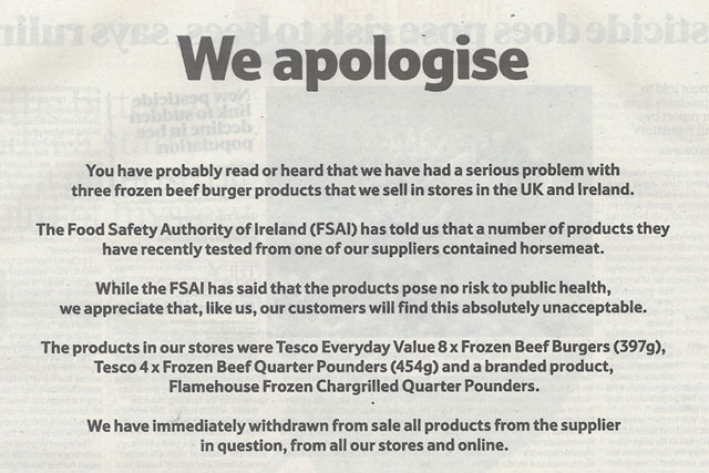 Tesco: 'we apologise' burger press ad