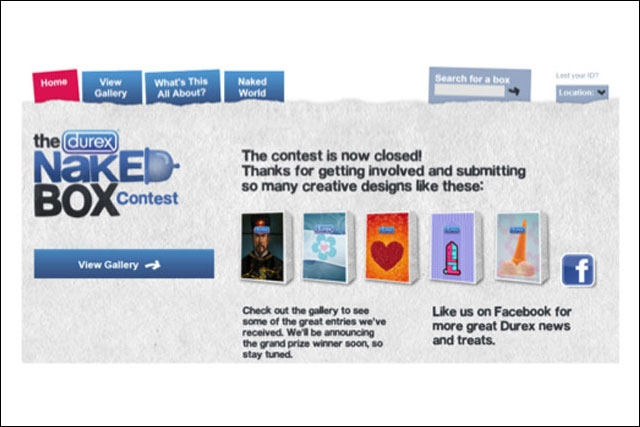 Durex: Naked Box website