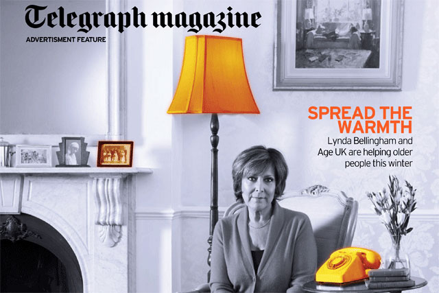 Age UK: Lynda Bellingham features on Telegraph magazine's thermal cover wrap