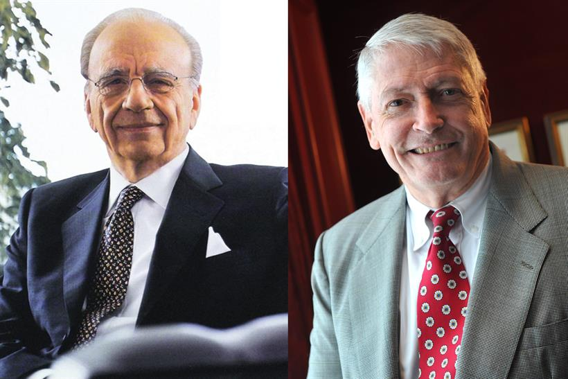 Murdoch (l) and Malone: the Fox and Liberty bosses targeted Time Warner and ITV respectively