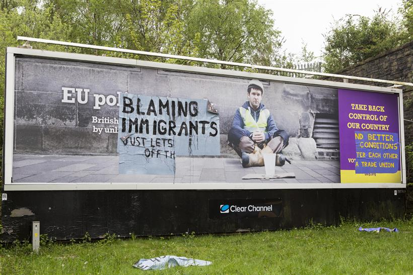 UKIP poster: one of the defaced sites owned by Clear Channel, which has run BNP ads in the past. Credit: Demotix/Press Association Images