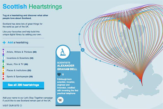 Scottish Heartstrings site: created by Adam & Eve/DDB for Let's Stay Together