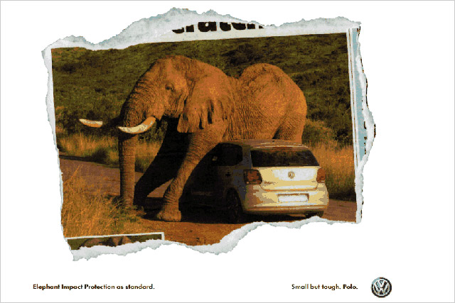 VW ad: car maker is quick off the mark after elephant embraces Polo