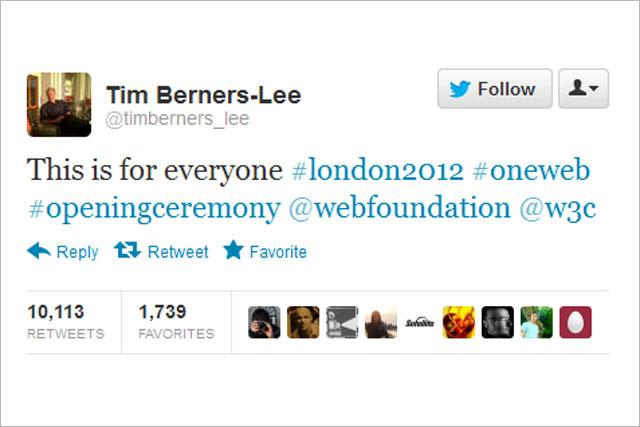 Tim Berners-Lee: sends Olympic tweet