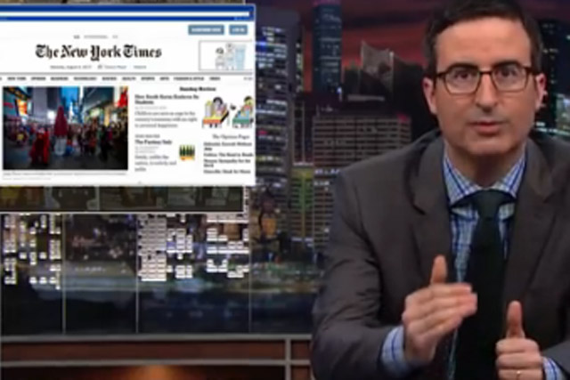 John Oliver: HBO presenter takes aim at the the rise of native advertising