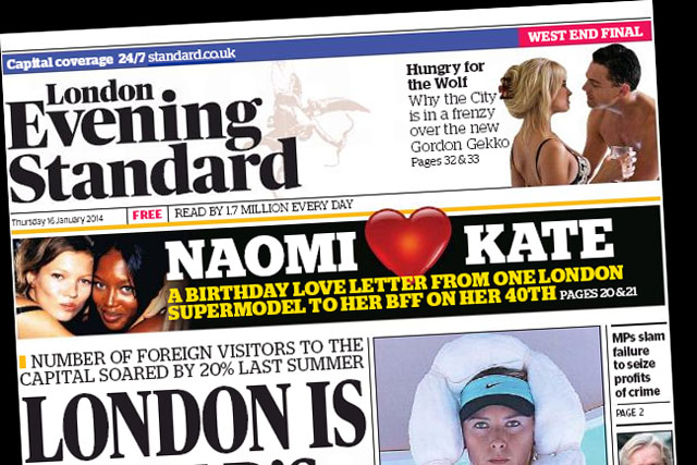 London Evening Standard: profits doubled to around £2.5 million in the year to September 2013