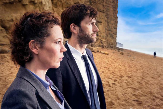 Broadchurch: Olivia Colman and David Tennant in a scene from the ITV crime drama