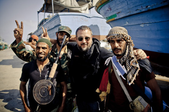 Vice Media: founder and chief executive Shane Smith, centre, in Libya (photo: Tim Freccia)