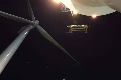 The last turbine by night (pic credit: E.on)