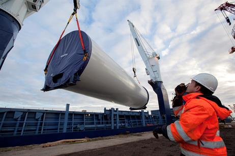 One of the five sections of the tower for Vestas' 8MW turbine