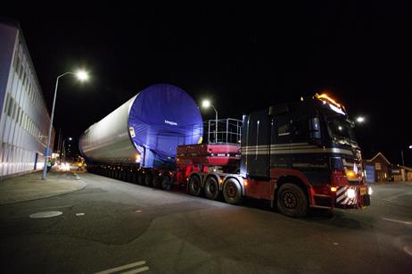 Tower of Vestas' turbine being transported at night from Hanstholm to the prototype site in Østerild