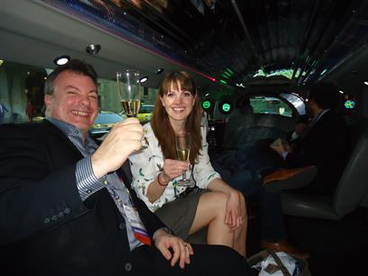 Champagne and limousines: C&IT's Alison Ledger and Iain Bitran of the International Society for Professional Innovation Management en route to Business Events Canada's evening