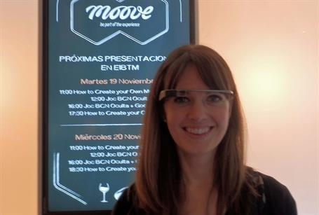 C&IT's News Editor Alison Ledger tries out Google Glasses on Moove's exhibition stand