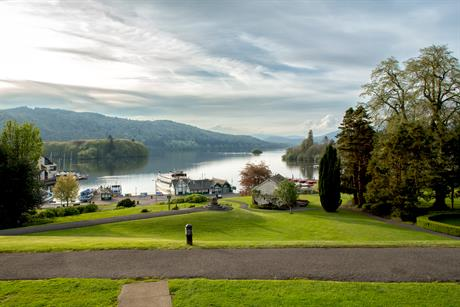 The garden at Laura Ashley's The Belsfield Lake District hotel on Lake Windermere, England's largest lake