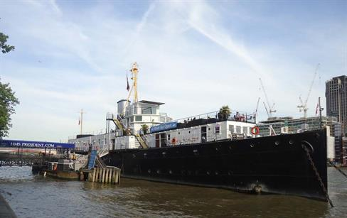 The HMS President on the River Thames