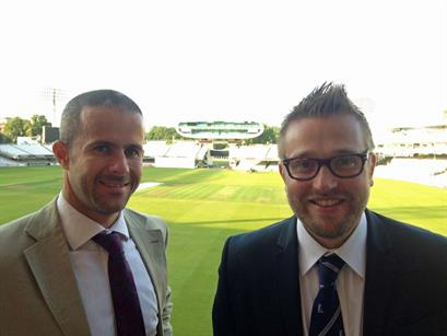 C&IT's Rob McKinlay with the MCC's Nick Kenton at Lord's Ashes dinner