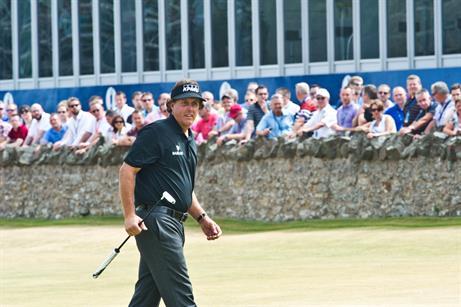 Champion Phil Mickelson at golf's Open Championship 2013, Muirfield, Scotland